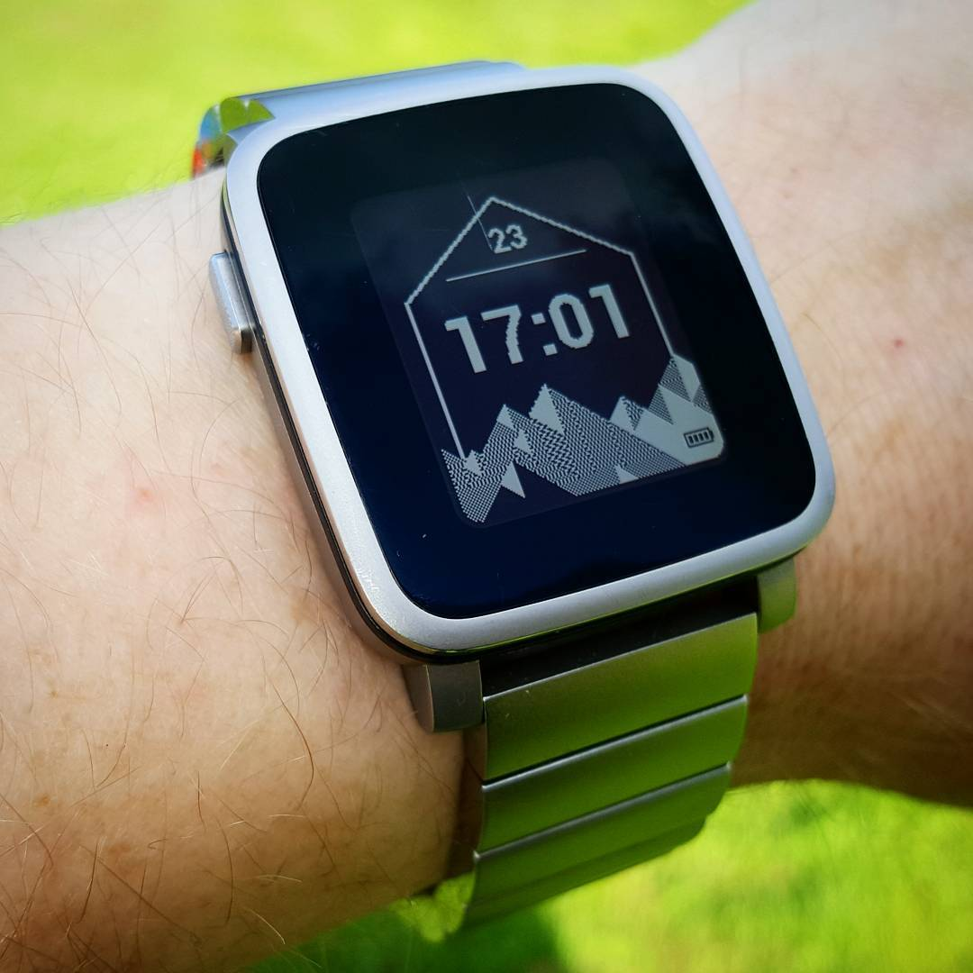 Hex Mountains - Pebble Watchface on Pebble Time Steel