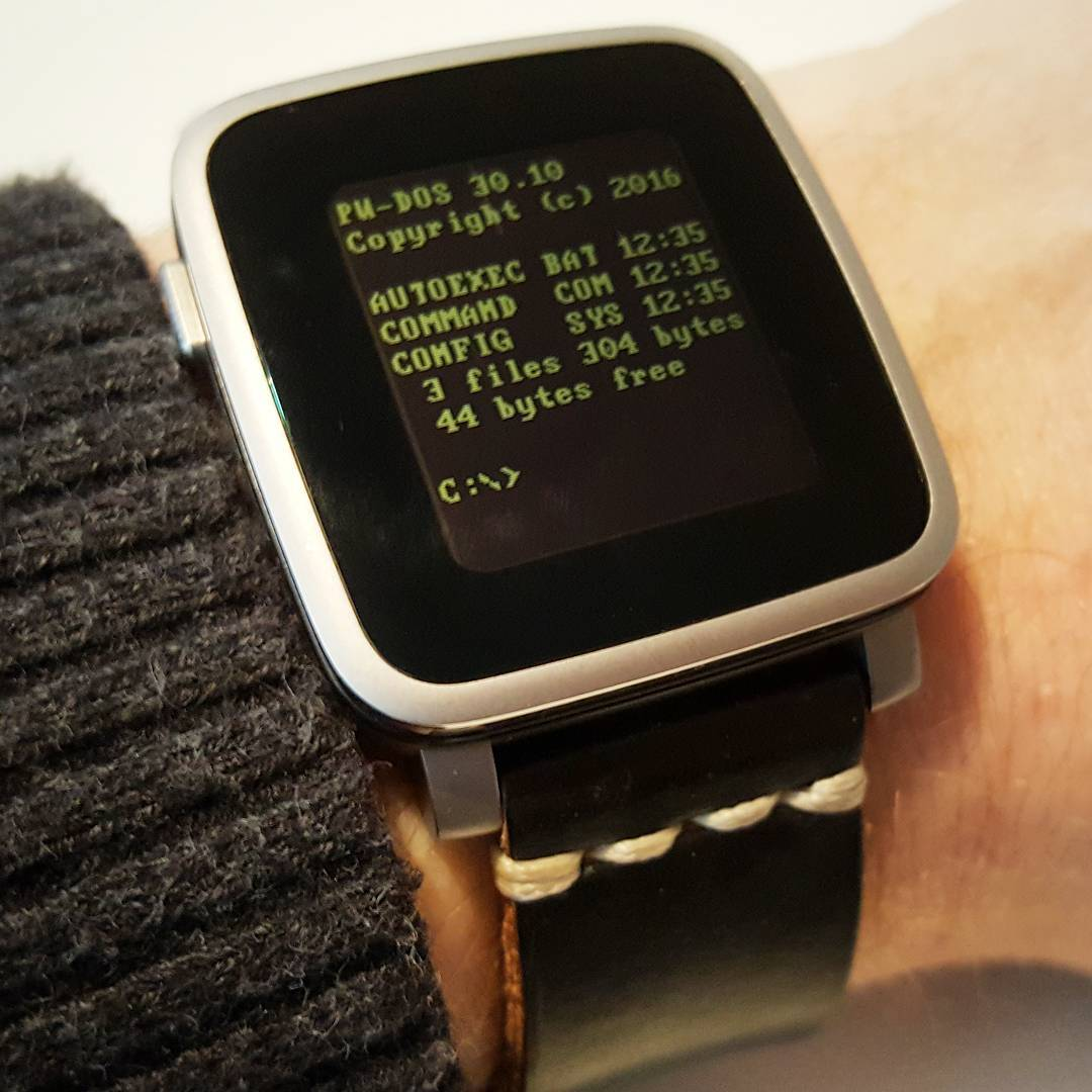 PW-DOS Command Line - Pebble Watchface on Pebble Time Steel